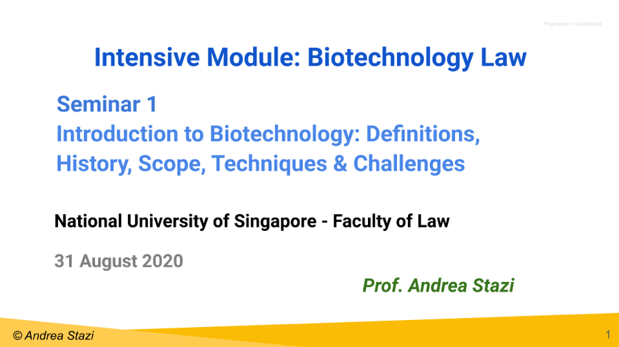 Intensive Course in Biotechnology Law